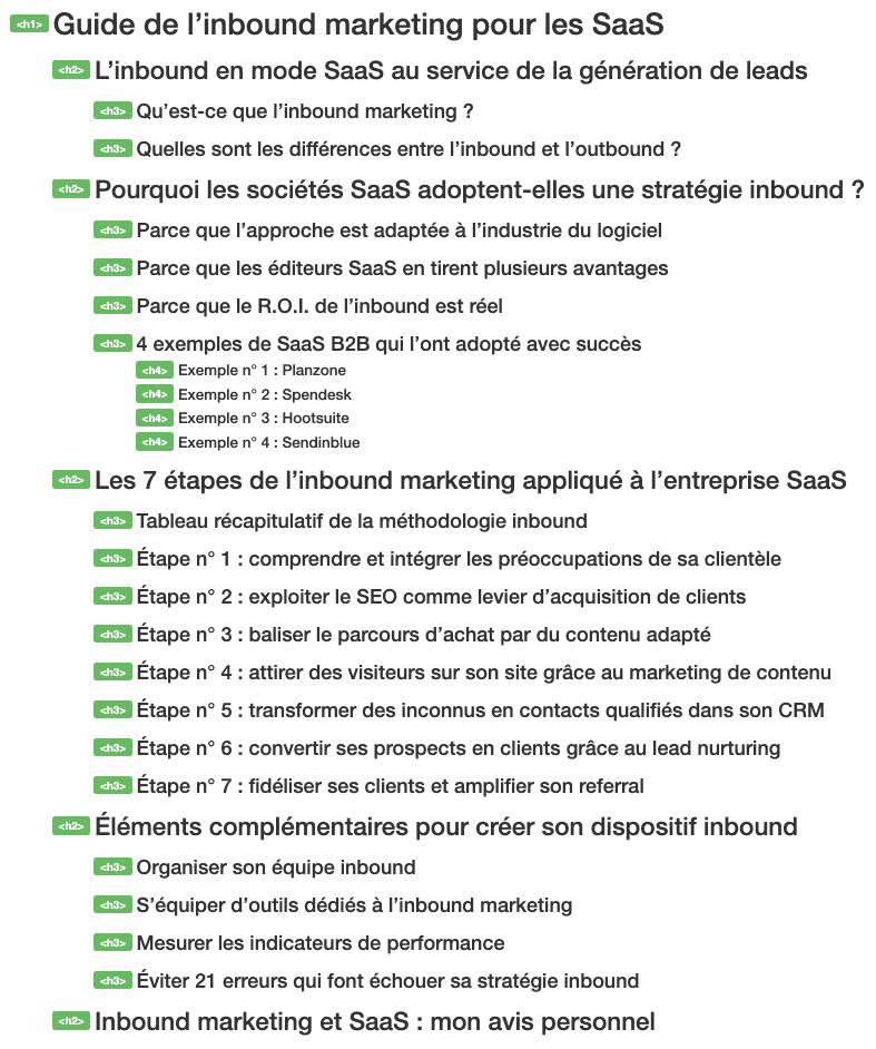 Les headings Titre sont importants pour le SEO d'un site internet SaaS