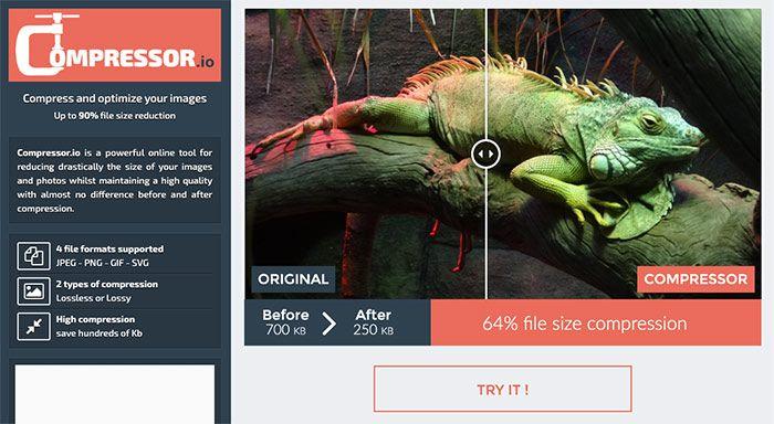 Compressor.io: logiciel en ligne pour alléger le poids de ses fichiers images