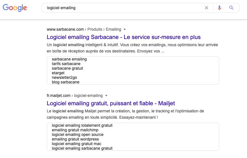 Affichage des résultats de recherche d'un logiciel SaaS emailing dans Goggle