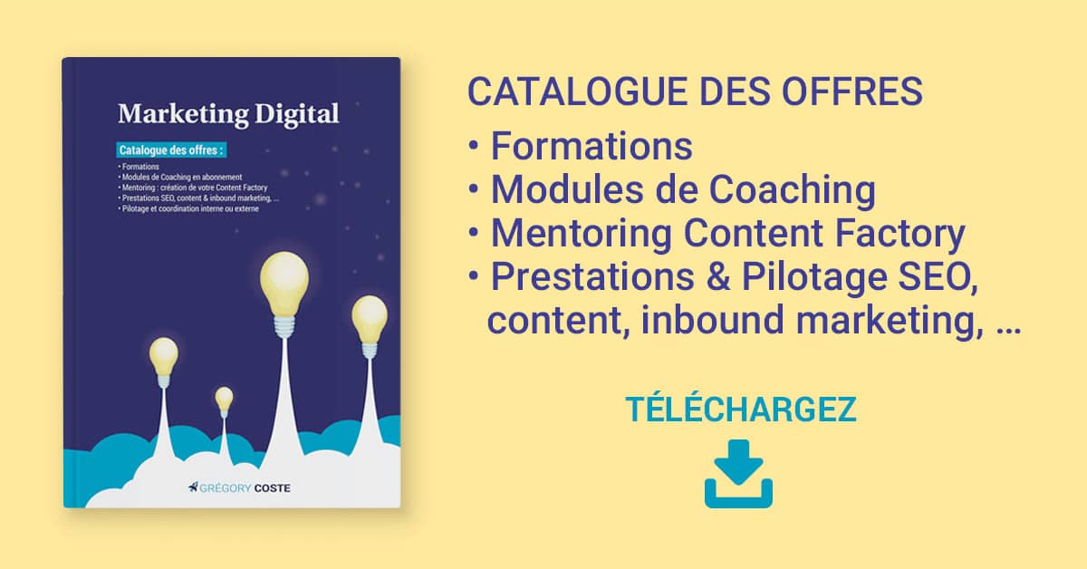 Catalogue de l'offre de services en marketing digital de Grégory Coste