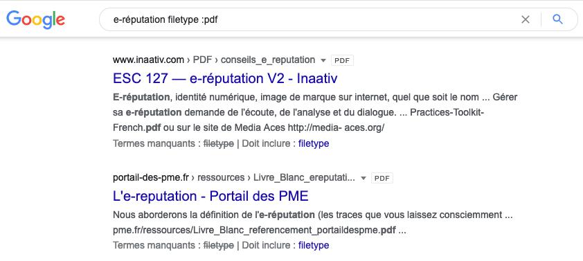 Trouver des lead magnets au format PDF dans Google