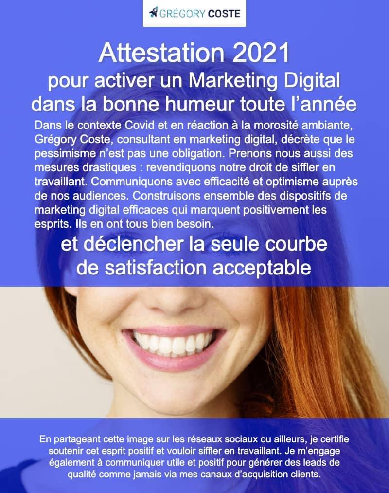Attestation 2021 de Grégory Coste pour activer un marketing digital dans la bonne humeur toute l'année