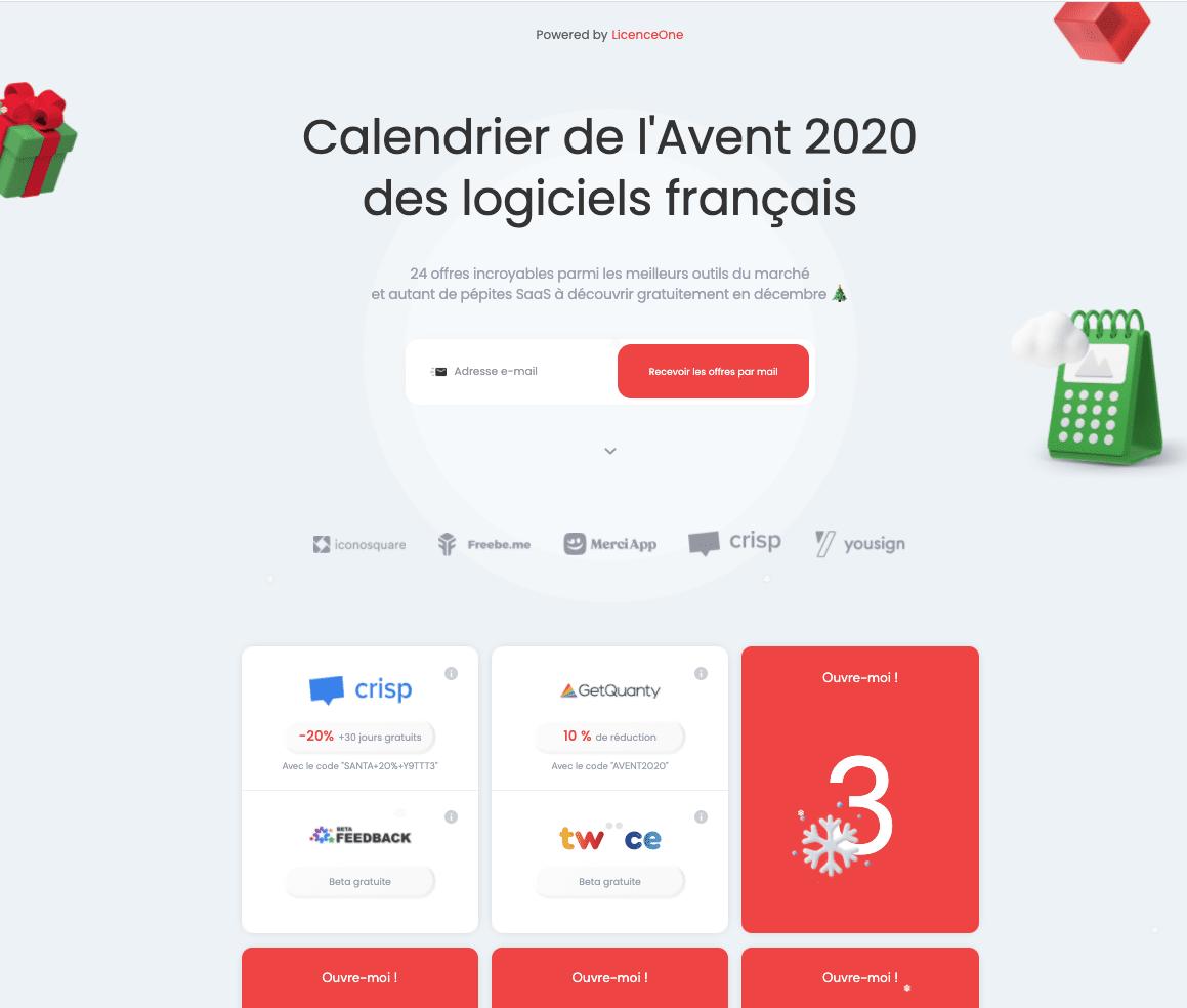Le calendrier de l'Avent 2020 des logiciels français