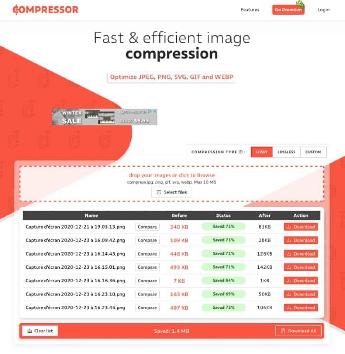 gérer du contenu image avec compressor.io