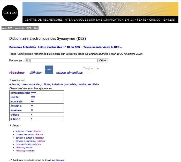 outil de rédaction de contenu : un dictionnaire des synonymes