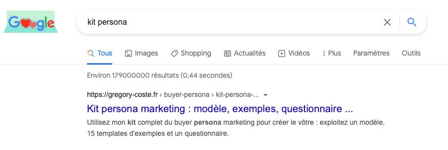 recherche Google pour le mot-clé « kit persona »