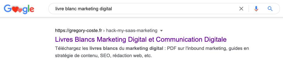 recherche Google pour le mot-clé « livre blanc marketing digital »